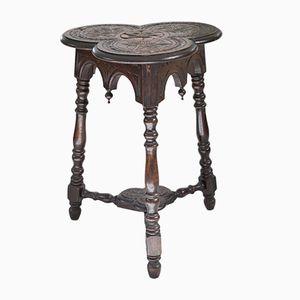 Antique English Oak Trefoil Table