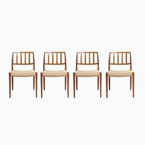 Esszimmerstühle mit Sitz aus Papierkordelgeflecht von Niels O. Møller für J.L. Møllers, 1974, 4er Set