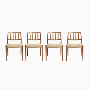 Paper Cord Dining Chairs by Niels O. Møller for J.L. Møllers, 1974, Set of 4