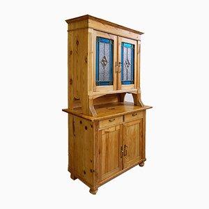 Antiker Jugendstil Küchenschrank mit Bleiglastüren