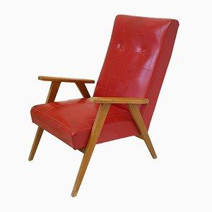 Sessel mit Gestell aus Holz & rotem Sitzbezug aus Skai, 1950er