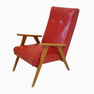 Wood & Red Skai Lounge Chair, 1950s