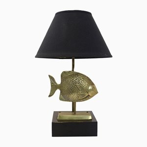 Brass Fish Table Lamp from Deknudt, 1970s