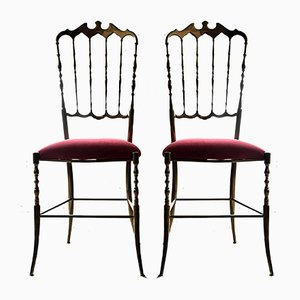 Brass & Red Velvet Chiavari Chairs, 1950s, Set of 2