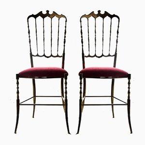 Sedie Chiavari in ottone e velluto rosso, anni '50, set di 2