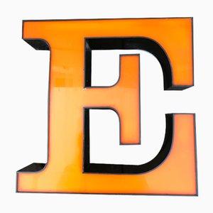 Lettera E in plexiglas, anni '80