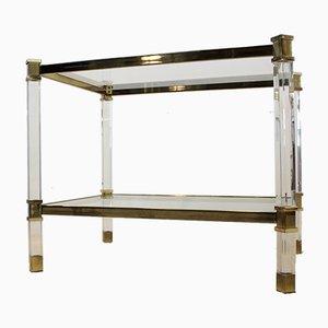 Französische Beistelltische aus Plexiglas, Messing & Glas, 1970er, 2er Set