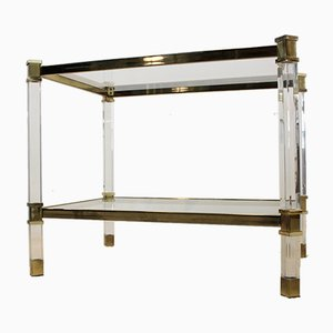 French Lucite, Brass, & Glass Side Tables, 1970s, Set of 2