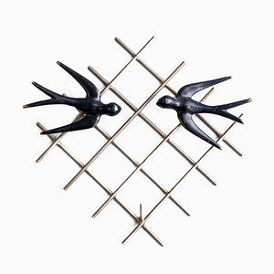 Schlüsselhalter mit Schwalben-Motiv von Walter Bosse für Hertha Baller, 1950er
