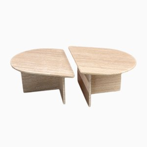 Low Postmodern Travertine Coffee Tables, 1970s, Set of 2