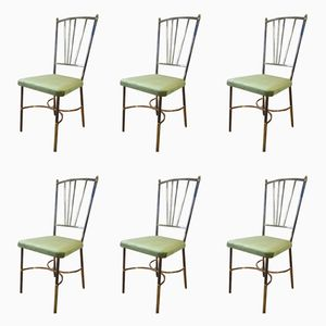 Mid-Century Golden Brass Dining Chairs, 1950s, Set of 6