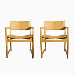 Oak & Rattan Armchairs, 1960s, Set of 2
