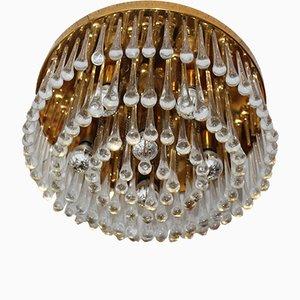 Vintage Deckenlampe mit Muranoglastropfen in Wasserfall-Optik, 1960er