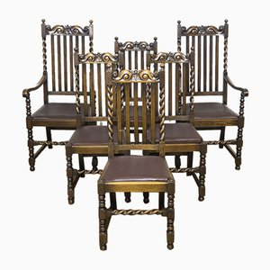 Jacobean Style Oak Chairs, 1920s, Set of 6