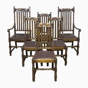 Stühle aus Eiche im jakobinischen Stil, 1920er, 6er Set