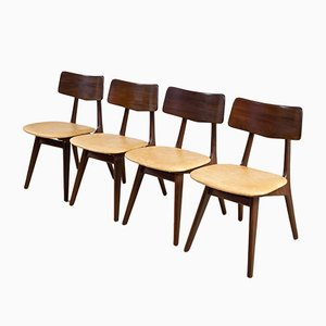 Dutch Teak & Leather Dining Chairs by Van Teeffelen for WéBé, 1960s, Set of 4