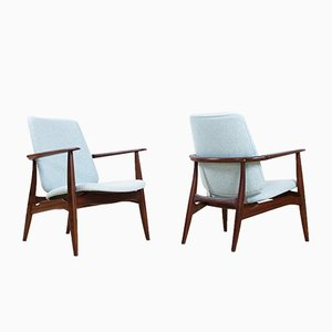 Mid-Century Modern Teak and Felt Armchairs by Aksel Bender Madsen for Bovenkamp, Set of 2