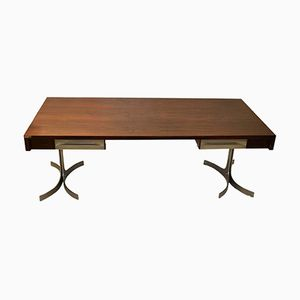 Large Italian Executive Desk with Wooden Top & Curved Metal Legs from Trau, 1960s