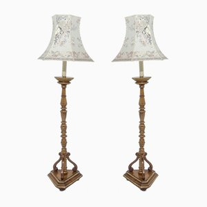 Walnut Gilded Floor Lamps, 1920, Set of 2