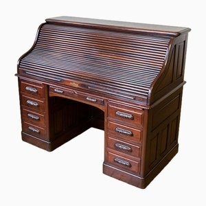 Edwardian Walnut Roll Top Desk