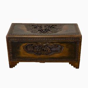 Baule vintage in legno di canfora con draghi