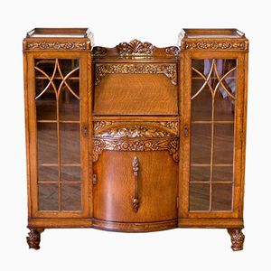 Oak Secretaire with Display Cabinets, 1920s