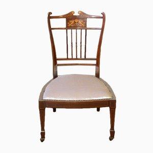 Niedriger antiker edwardianischer Stuhl aus Mahagoni