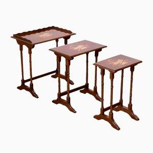 Tavolini ad incastro in mogano, anni '60