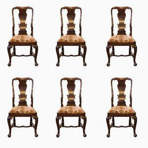 Antique Queen Anne Style Mahogany Chairs, Set of 6