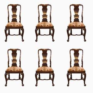 Sedie antiche in stile Queen Anne in mogano, set di 6