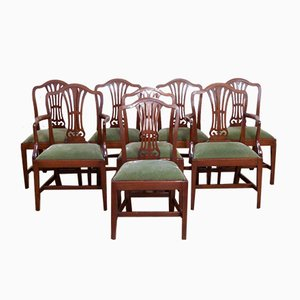 Antique Sheraton Style Mahogany Chairs, Set of 8