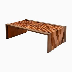 Brutalist Coffee Table with Brazilian Hardwood Relief by Percifal Lafer, 1970s