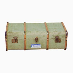 Vintage Green Canvas Steamer Trunk