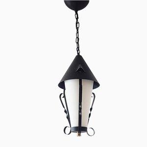 Lámpara colgante vintage de metal y vidrio, años 50