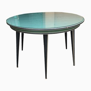 Round Mid-Century Modern Table with Glass Top by Umberto Mascagni, 1960s