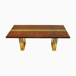 Burl Wood and Brass Dining Table by Romeo Rega, 1970s