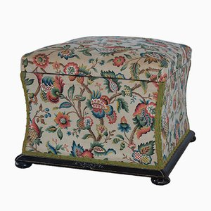 Antique Victorian Ottoman with Ebonised Frame, 1880s