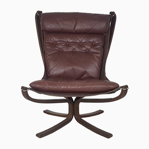 Vintage Brown Falcon Chair by Sigurd Ressell