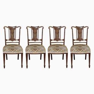 Antike edwardianische Stühle aus Mahagoni, 4er Set