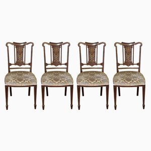 Antique Edwardian Mahogany Chairs, Set of 4