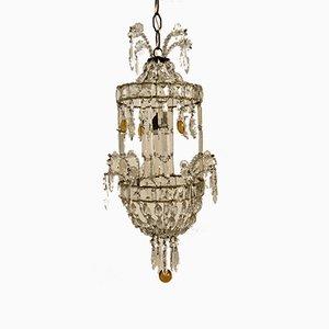Lampada da soffitto vintage in cristallo con pendenti in vetro di Murano