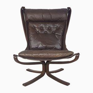 Poltrona Falcon vintage marrone scura di Sigurd Ressell