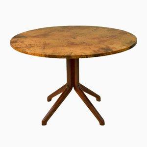Table de Salle à Manger en Parchemin et en Bois Noirci par Aldo Tura, 1950s