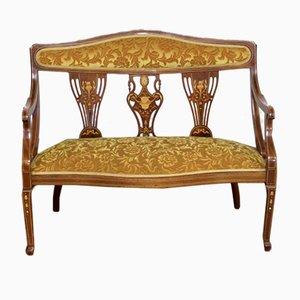 Edwardianisches Sofa aus Mahagoni mit Intarsien