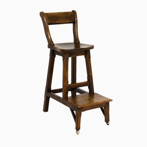 Victorian Walnut Clerk's High Chair, 1890s