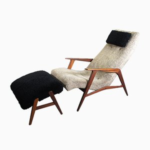 Siesta Sessel und Fußhocker von Jiö-Möbler, 1950er