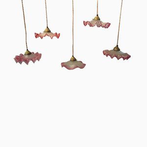 Vintage French Pink Glass Ceiling Lamps, 1930s, Set of 5