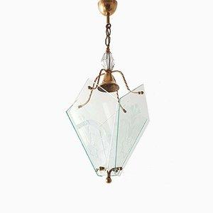 Lampada a sospensione vintage in ottone e vetro, anni '50