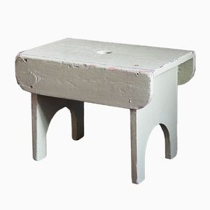 Antique Rustic Painted Footstool, 1910s