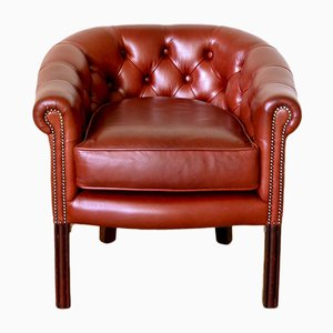 Red Leather Armchair, 1980s